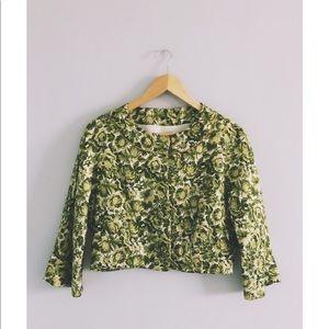 Vintage Green Rosebush Retro Bolero Blazer